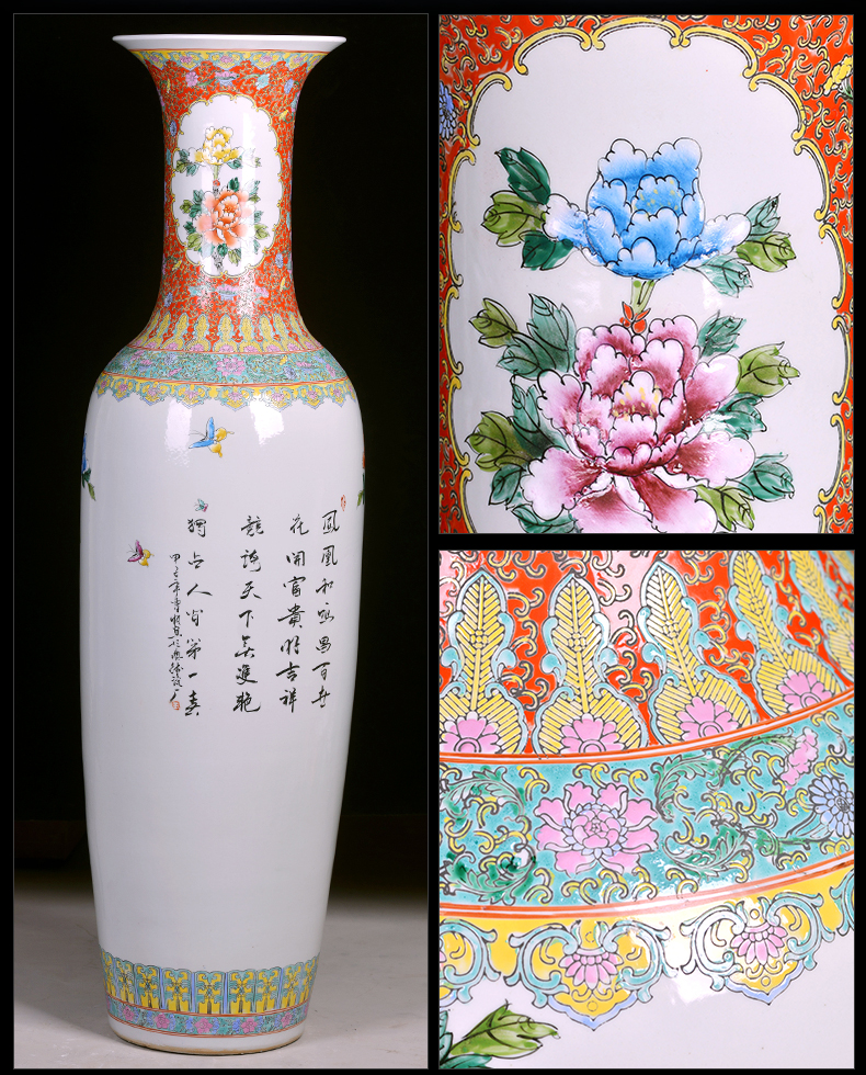 Jingdezhen hand - made ceramic floor large vases, notes tong heavy prosperous Chinese style of new home sitting room adornment is placed