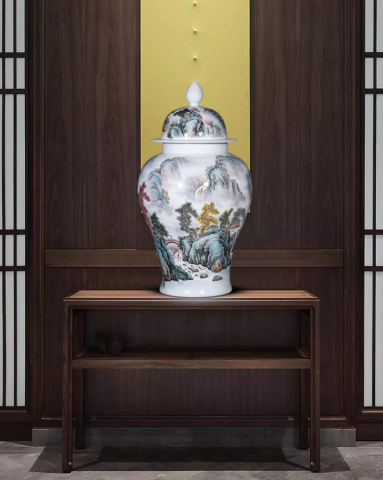 Jingdezhen ceramics hand - made pastel caddy fixings high - grade household of Chinese style with the cover seal pot moisture storage tank