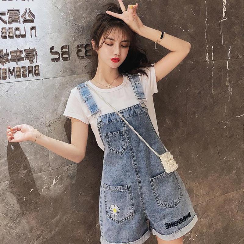夏季新款刺繡韓版寬松顯瘦闊腿百搭牛仔背帶褲女6