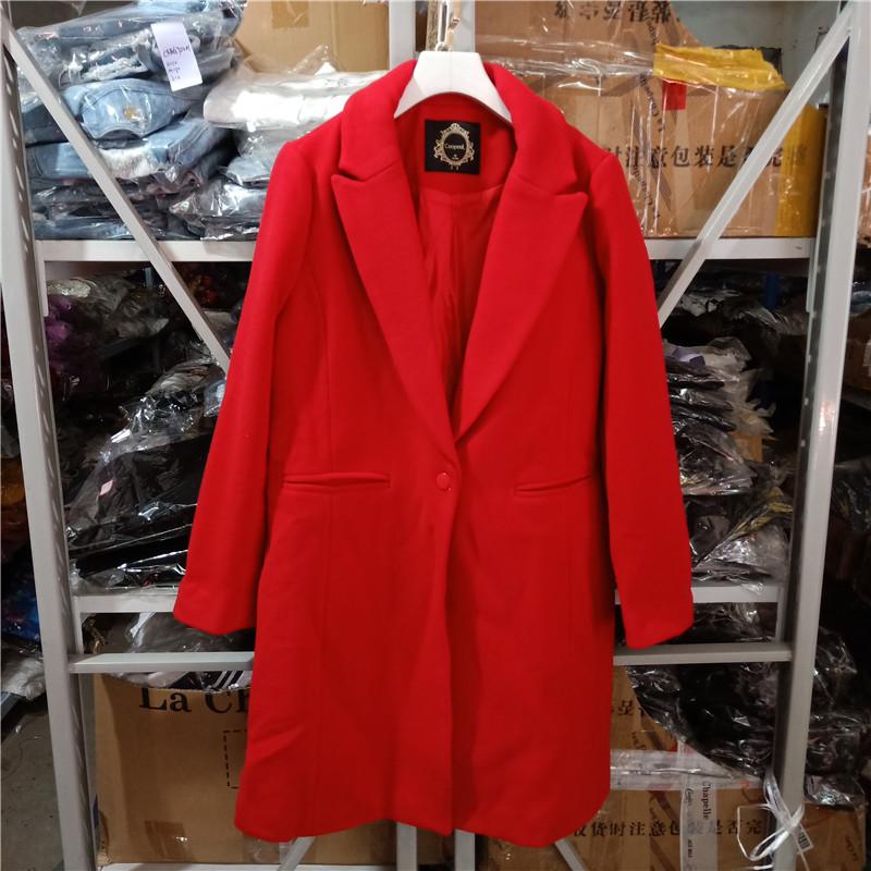 Quần áo nữ sành điệu 2019 mùa đông mới đơn giản, áo len dài một nút giữa 1264 / XC4-4 - Trung bình và dài Coat