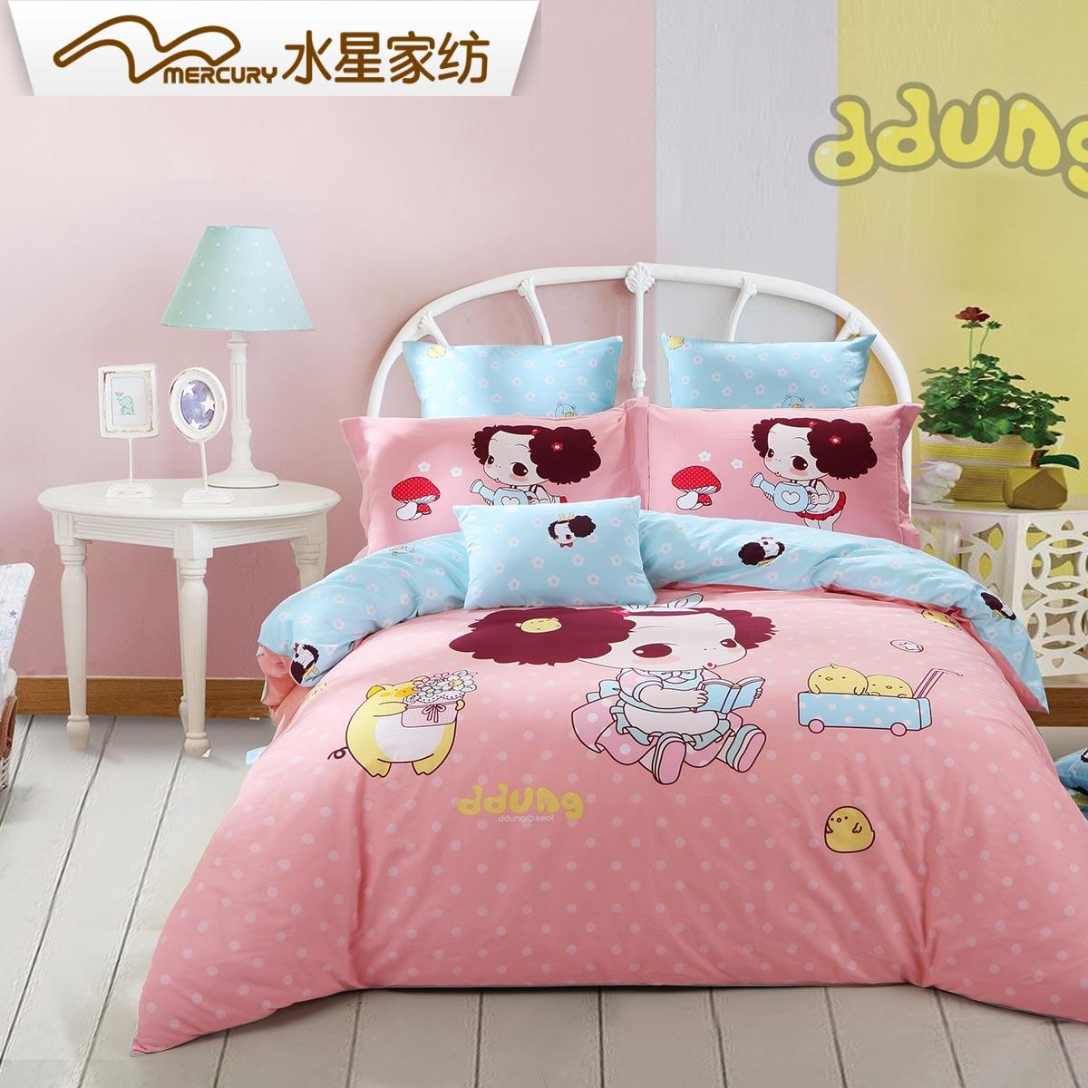 Вода звезда домой спин мультики четыре части хлопок щеткой розовая принцесса ветер утолщённый сохраняющий тепло кровать статьи охрана зима себя