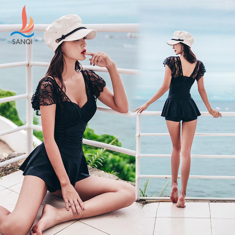 三奇泳衣女连体裙式性感保守遮肚显瘦韩国学生大码胖mm泡温泉泳装