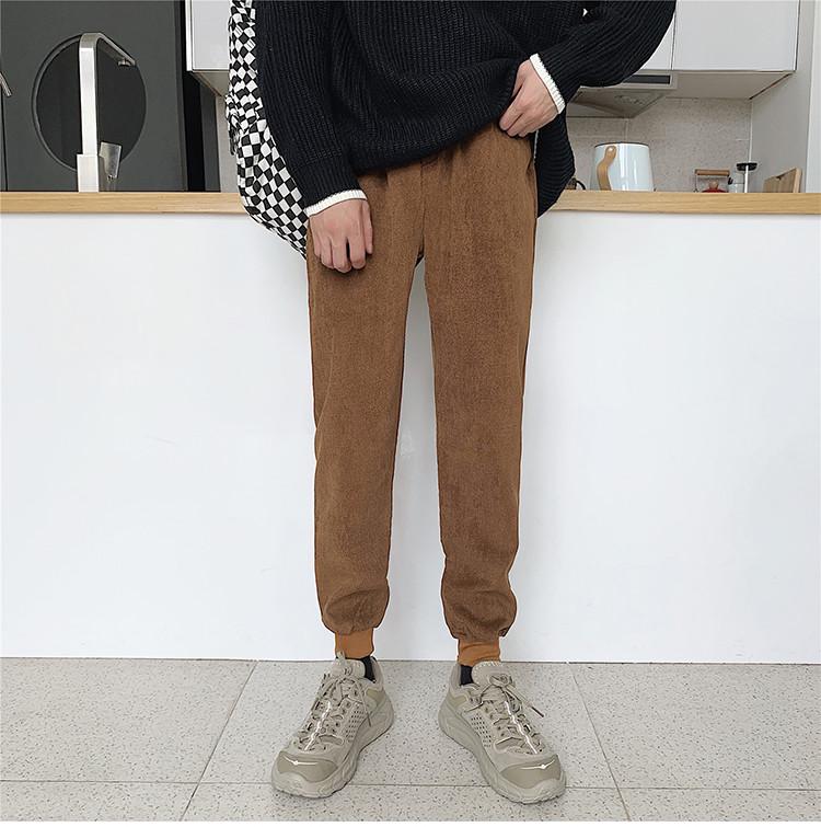 K053/P35加绒P40秋冬男士卫裤灯芯绒小脚休闲裤男大码运动哈伦裤