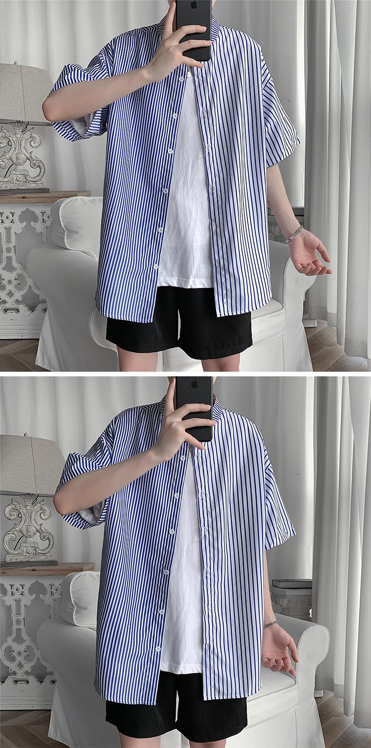 C2028/P30新款立领男士条纹撞色拼接衬衫男韩版宽松大码休闲衬衣