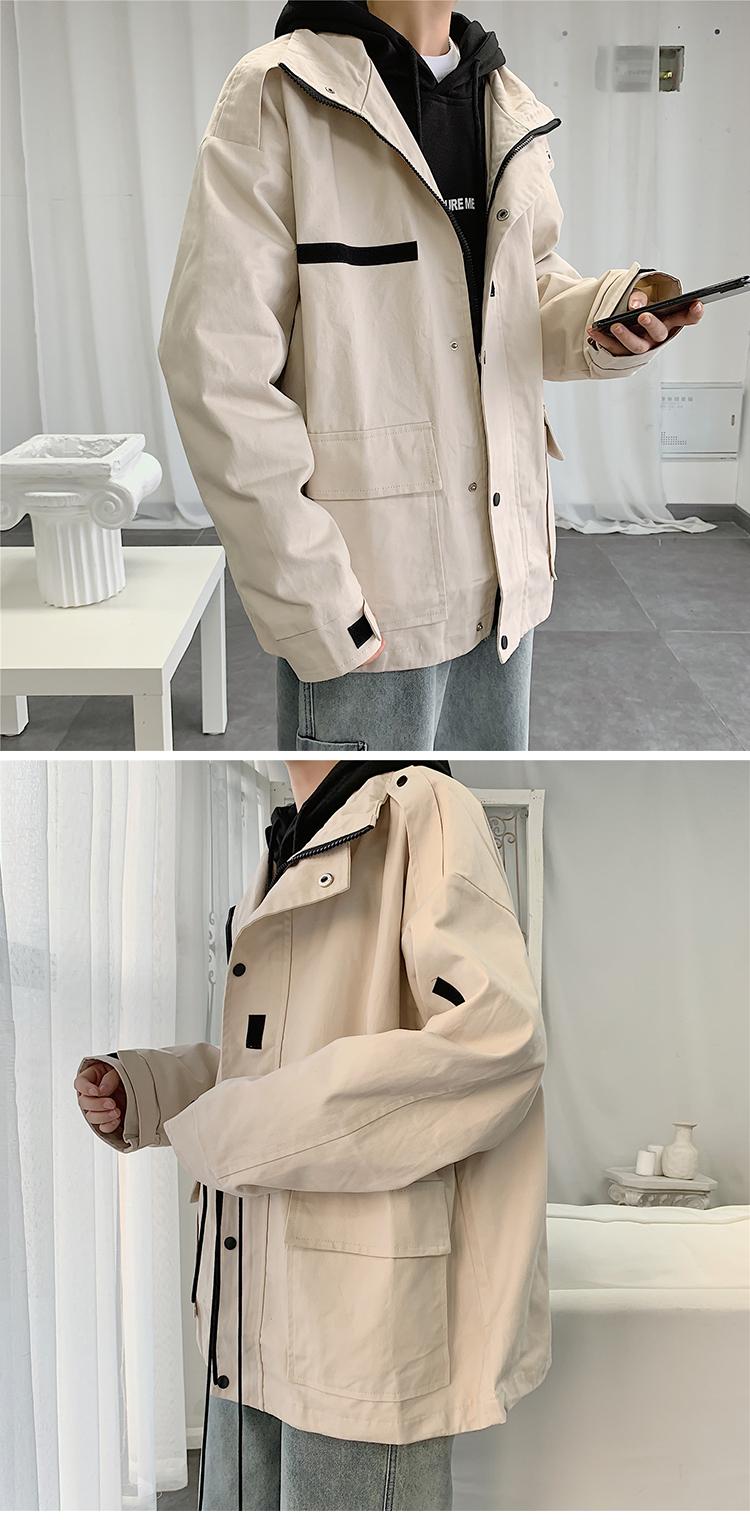 JK1012/P75秋装新款工装夹克男士大码立领外套韩版上衣潮流男装