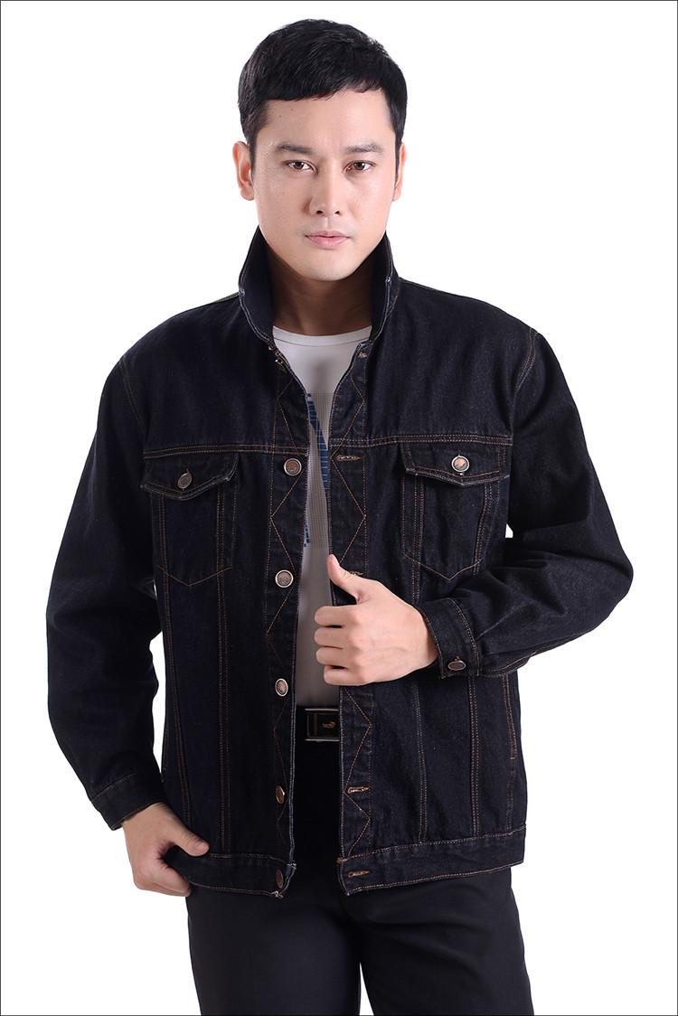 Mùa xuân và mùa thu denim jacket top trung niên của nam giới thường áo khoác trung niên ve áo dài tay dụng cụ đầu máy phù hợp với