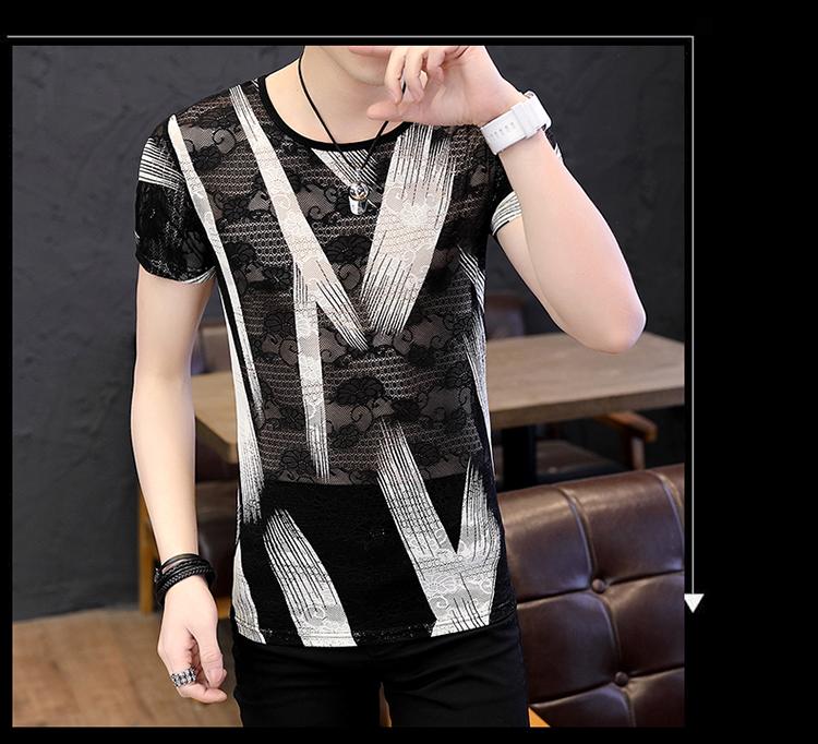 Summer man thin t shirt men streetwear hollow breathable lace short sleeve t-shirt men t shirts camiseta shirt homme camisetas 23