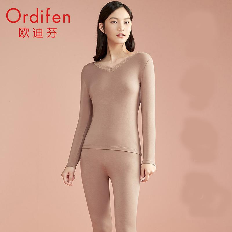 欧迪芬2021年新款秋衣V领打底衣蓄热德绒保暖内衣女套装XW1106Y