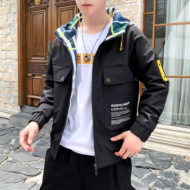 2020百搭新款大口袋夹克男士连帽外套休闲学生潮牌 主图在详情