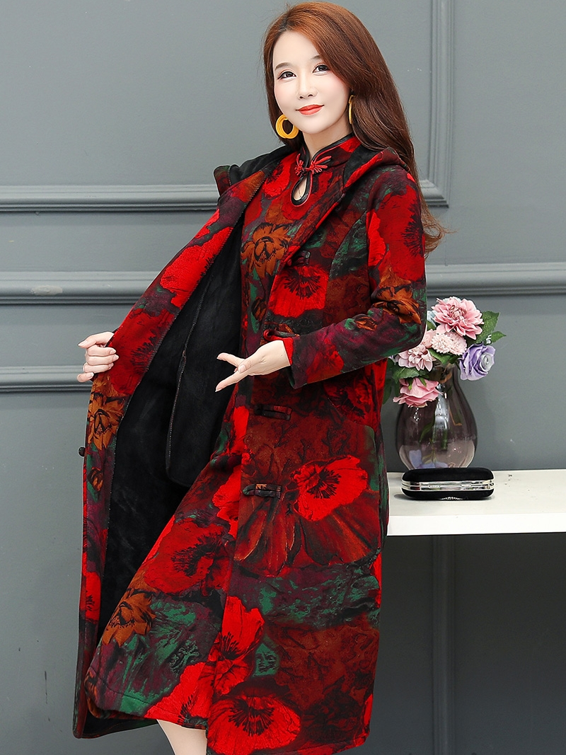 Cheongsam women autumn and winter warmth improved version plus velvet thick middle-aged mother coat 2020 new two-piece