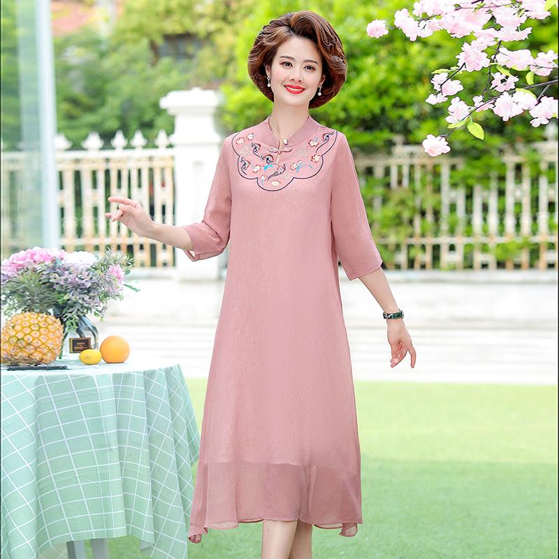 Váy ngắn nữ trung niên tay ngắn mùa hè 2020 dành cho mẹ trung niên phong cách nước ngoài mùa hè - Phụ nữ cao cấp