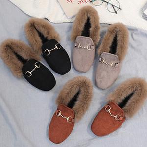 女貂毛棉加绒休闲毛毛鞋