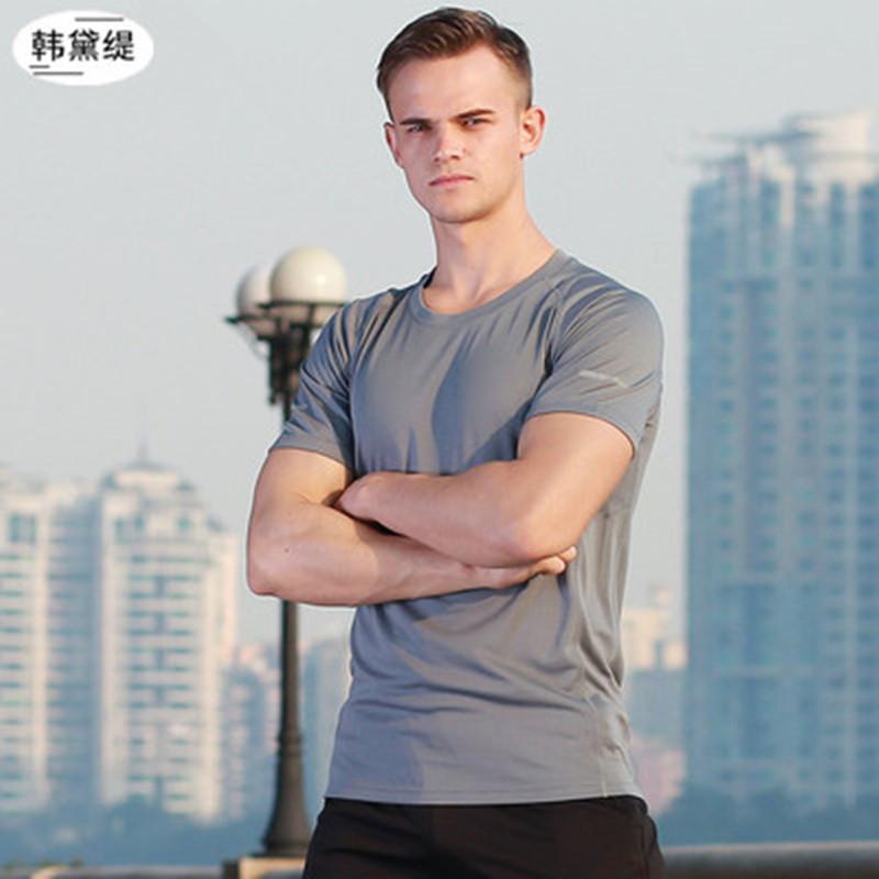健身衣服男夏季速干上衣紧身t恤健身房训练运动套装休闲跑步短袖