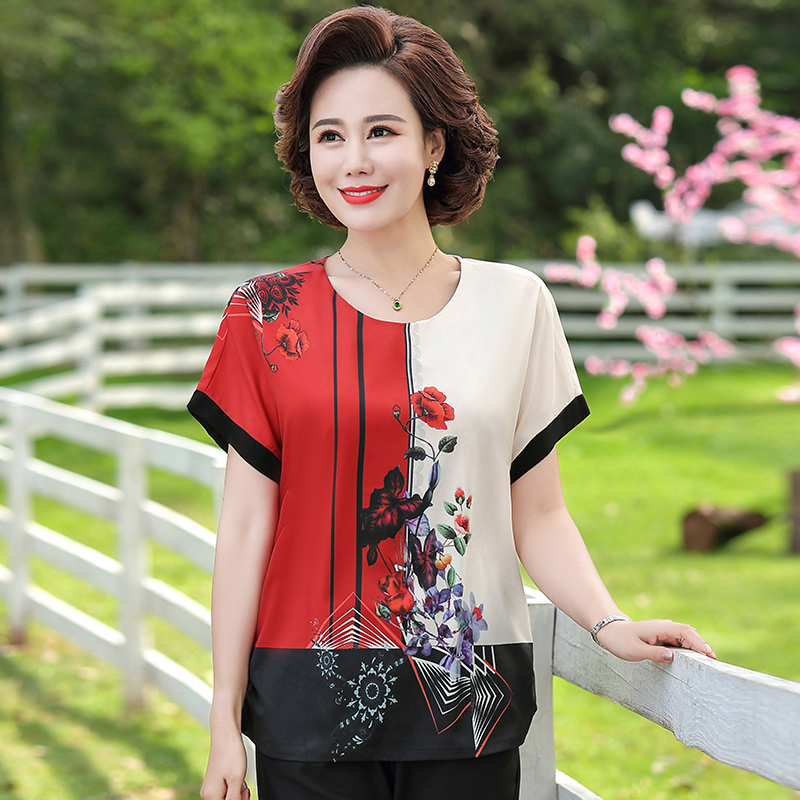 Middle-aged mother summer short-sleeved two-piece suit 2020 new middle-aged and elderly women's foreign-style small shirt 50-year-old top