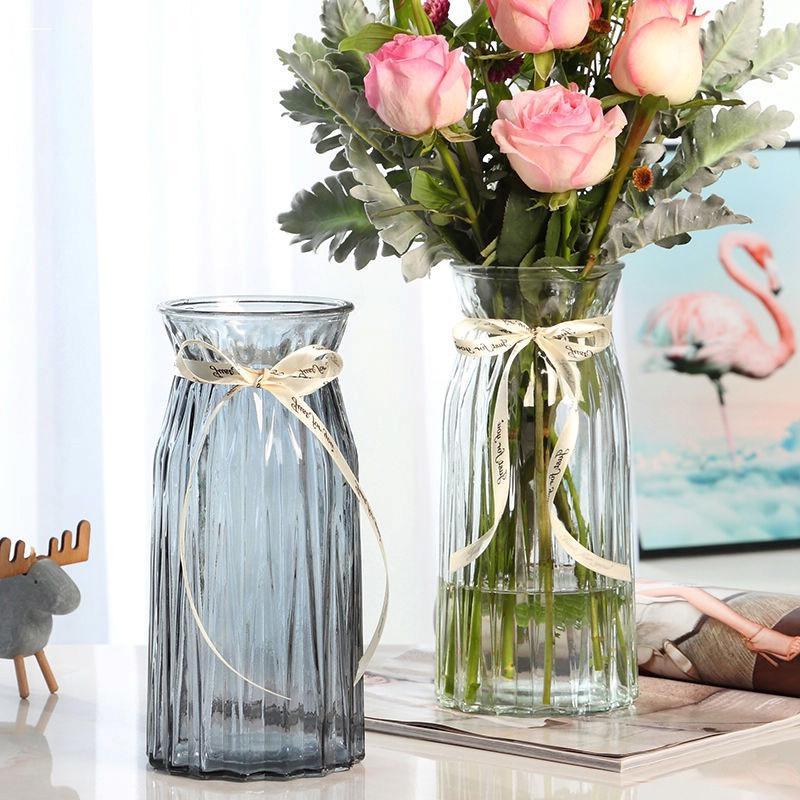 欧式竖棱玻璃花瓶创意渐变色加厚花瓶水培植物干花客厅插花摆件瓶_领取5.00元淘宝优惠券
