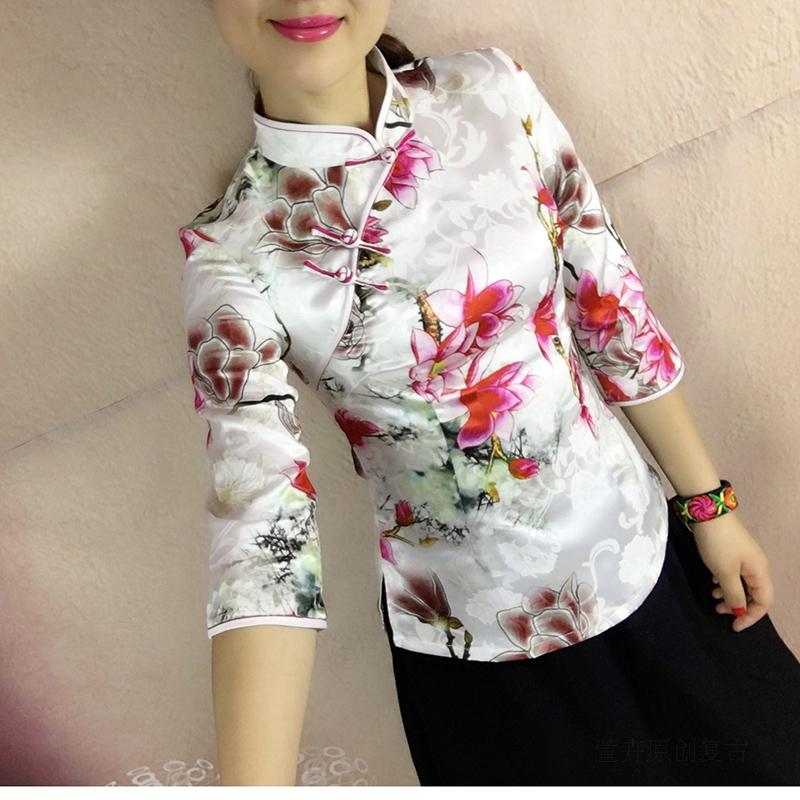 fb0d9ccdd73 Xuan Hui spring and summer Chinese style retro modified self-cultivation cheongsam  shirt Chinese seven-point sleeve buckle Tang suit female hanfu