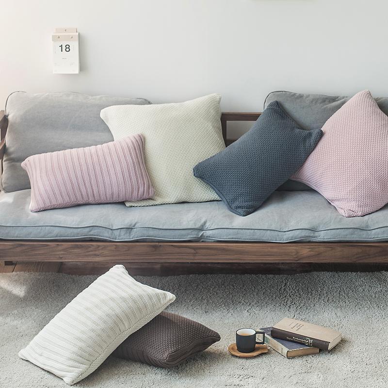 Câu chuyện về cơm tôm Scandinavia sofa cotton tối giản trang trí đệm bông dệt kim gối ôm gối lớn với trái tim - Trở lại đệm / Bolsters
