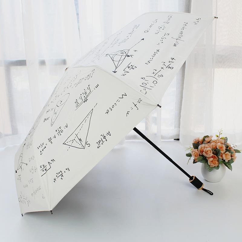 Stylish new three folding personality creative black glue sunscreen UV umbrella dual-use umbrella small fresh