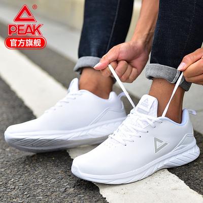 匹克男鞋跑步鞋男2021秋季新款男士休闲鞋子轻便皮面防水运动鞋
