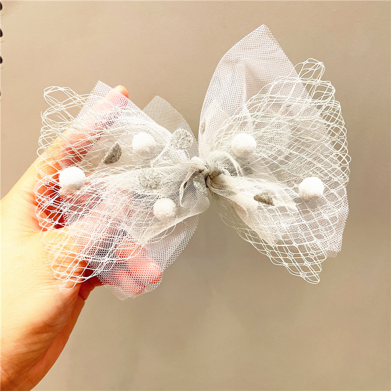 Korea childrens net yarn bow hairpin NHCQ326079