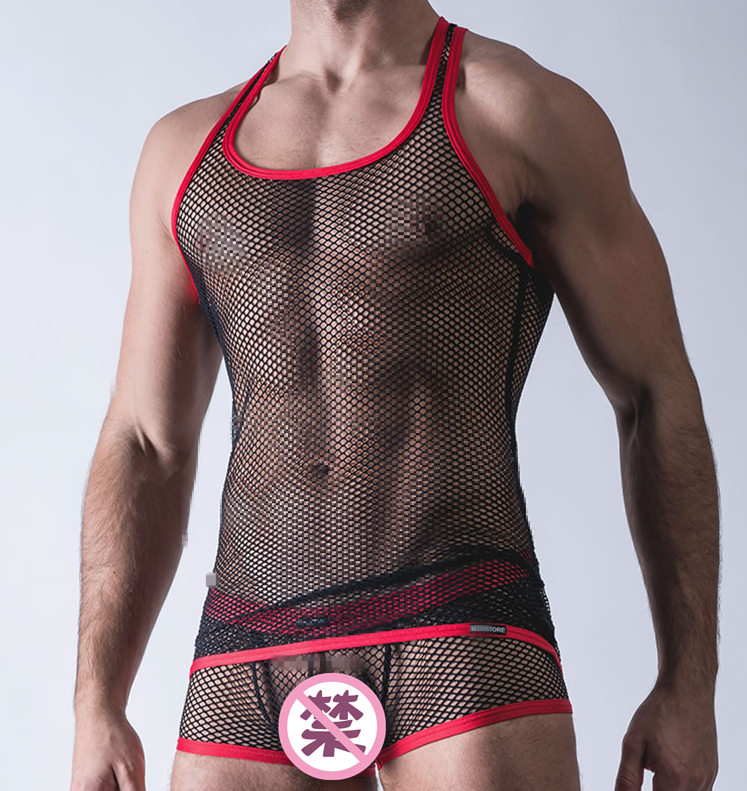 Men's sexy hollow net mesh net eye hollow vest fitness transparent underwear sling nightclub top