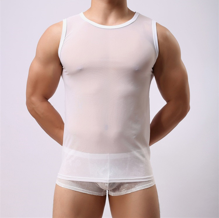 Summer Special Ice Silk men's sexy full perspective transparent Mesh Mesh openwork fashion vest Mesh Mesh