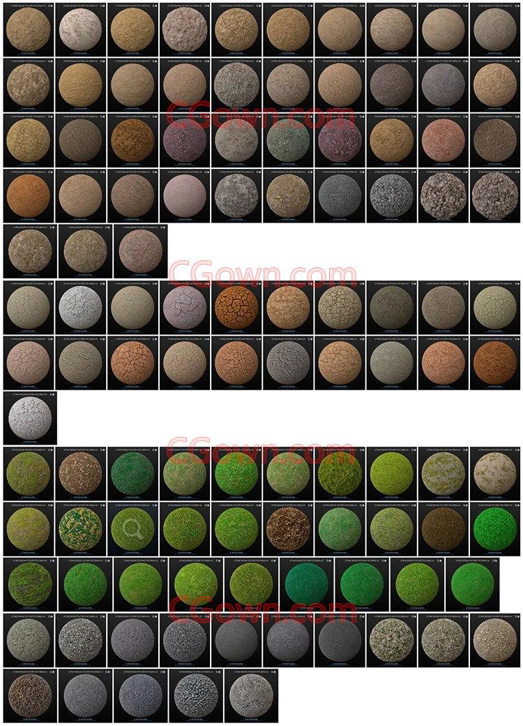 C4D预设Vray材质渲染4K纹理瓷砖大理石头织物木金属混凝土地路道