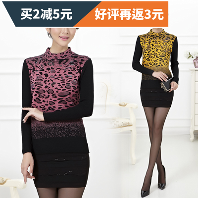 Autumn and winter new middle-aged women's thick leopard sweater mother loaded thickened knit shirt sweater jacket