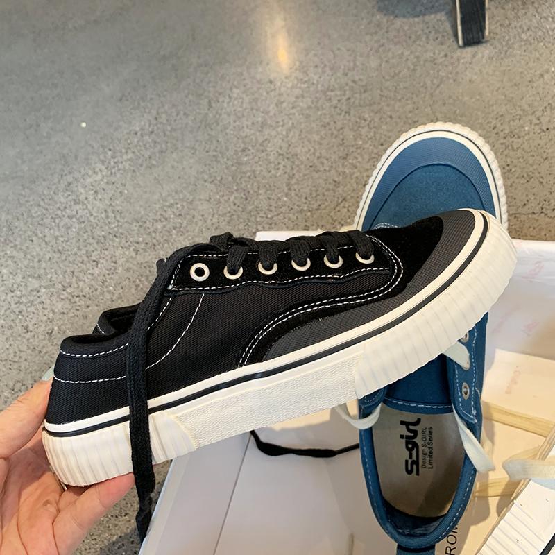 墨染·S-GIRL加絨帆布鞋女ulzzang復古百搭2121年新款香港原宿低幫潮鞋