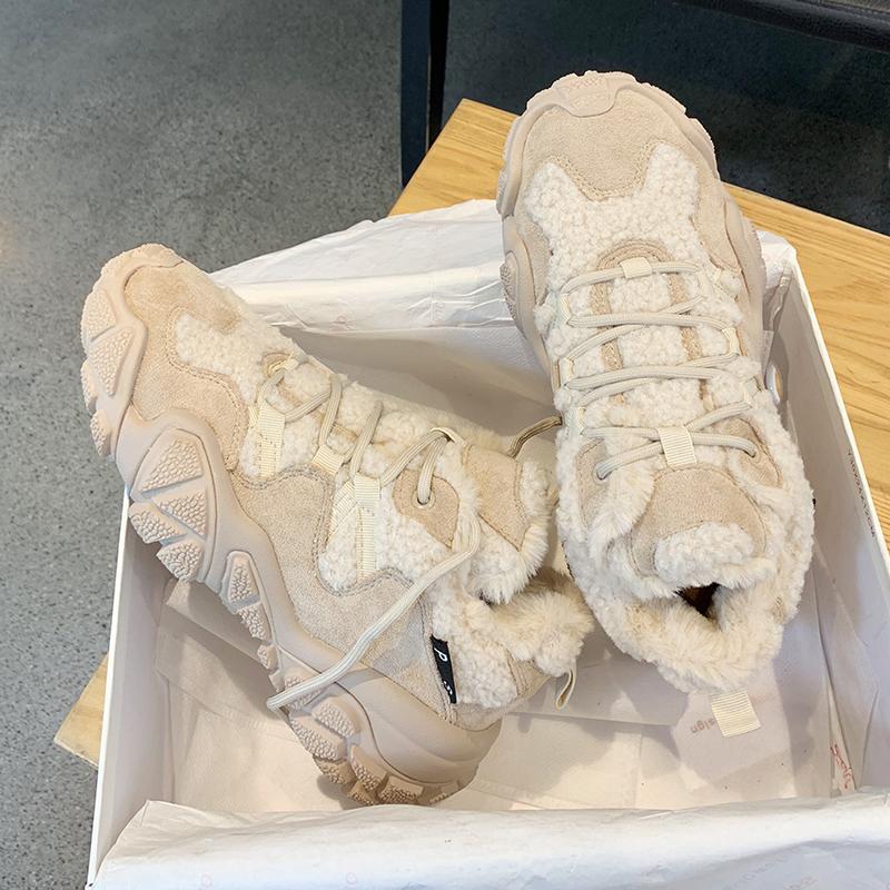 墨染·歐洲站加絨老爹鞋女冬2121的冬季保暖丑萌ins超火磨砂皮厚底棉鞋