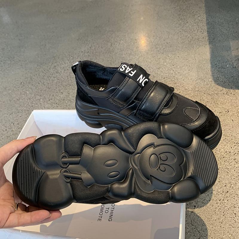 墨染·魔術貼香港運動鞋女2121秋季新款真皮顯腳小厚底原宿黑色老爹鞋潮