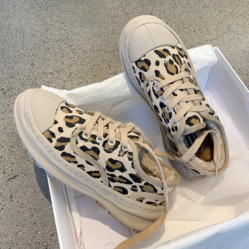 墨染·網紅ins毛毛棉鞋女2121冬季新款豹紋時尚加絨保暖軟底原宿休閒潮