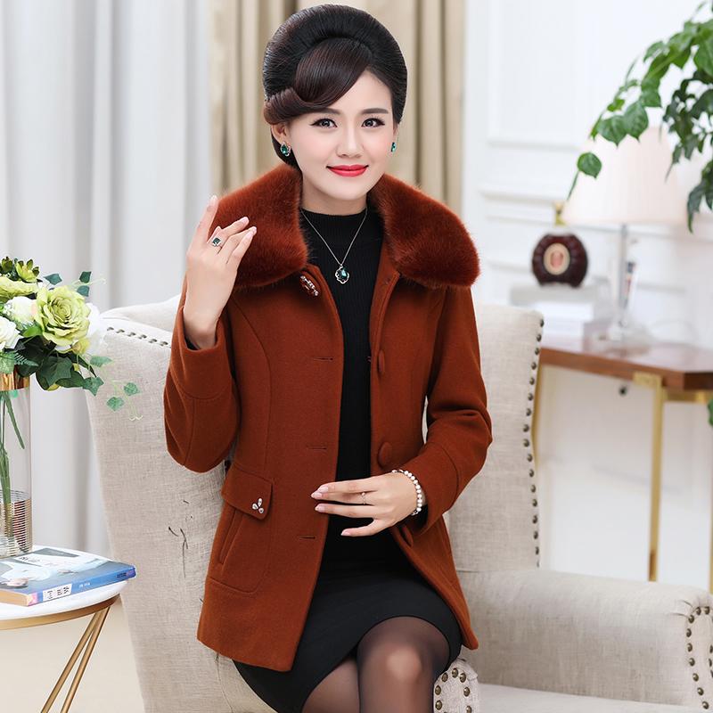 中老年秋装女妈妈新款中年女装羊绒短款大衣外套上衣毛呢呢子冬装