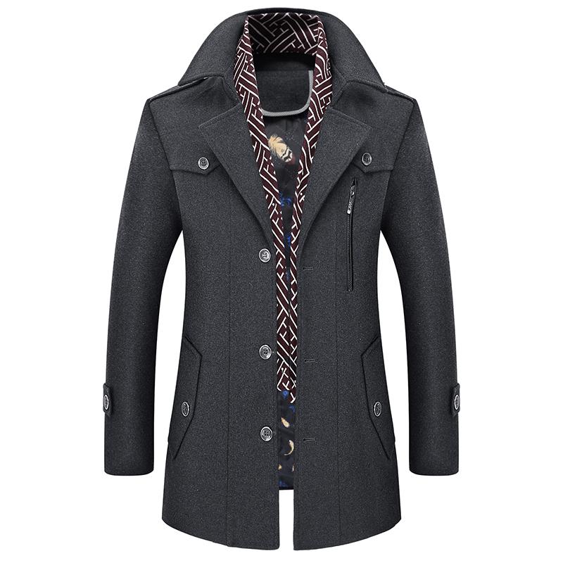 冬季羊毛呢大衣男装中长款加厚加棉修身款中青年呢子风衣休闲外套