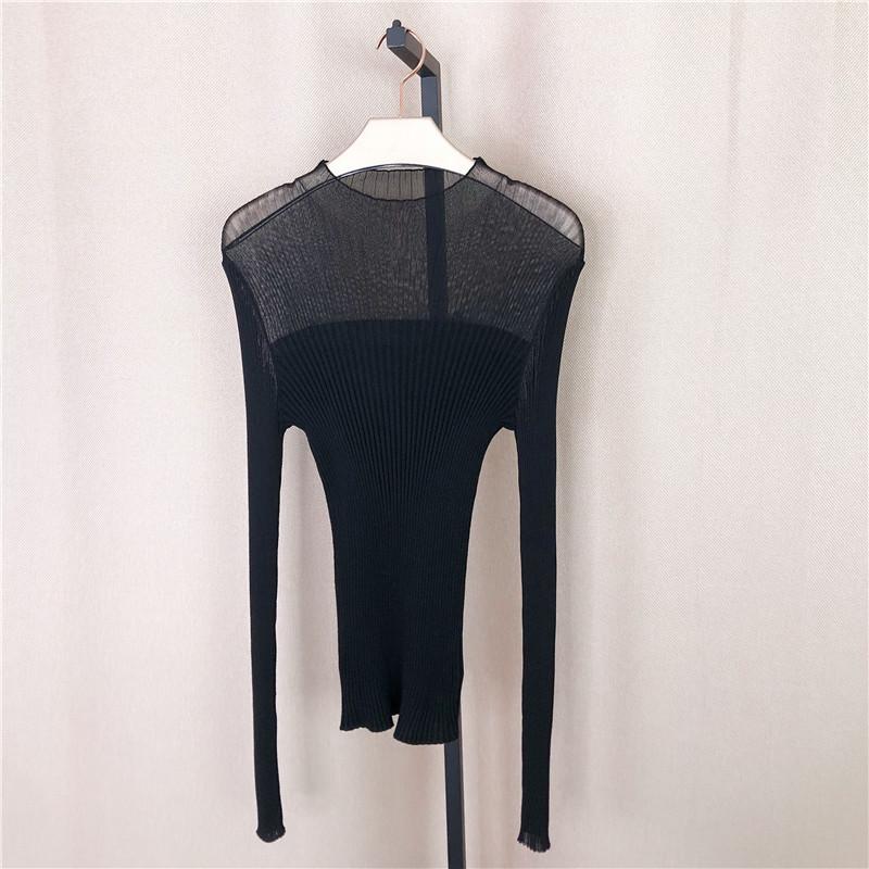 佧系列2020打底新款半毛衣网纱拼接针织衫女春装高领半透明性感