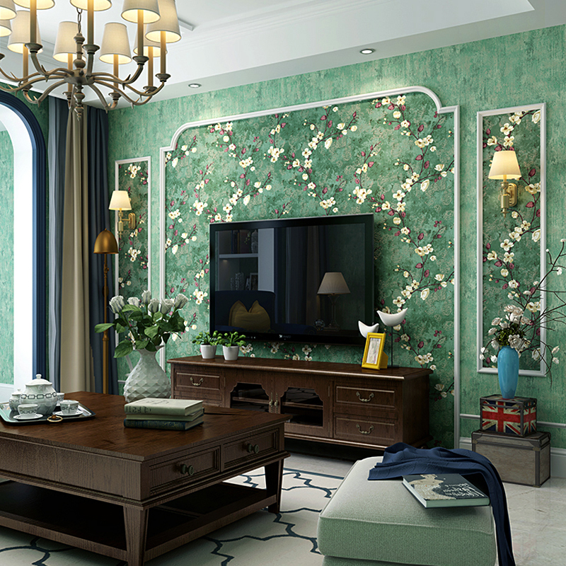 American Past Wallpaper Bedroom Retro Nostalgic Country Style Dark Green Living Room Ab Tv Background