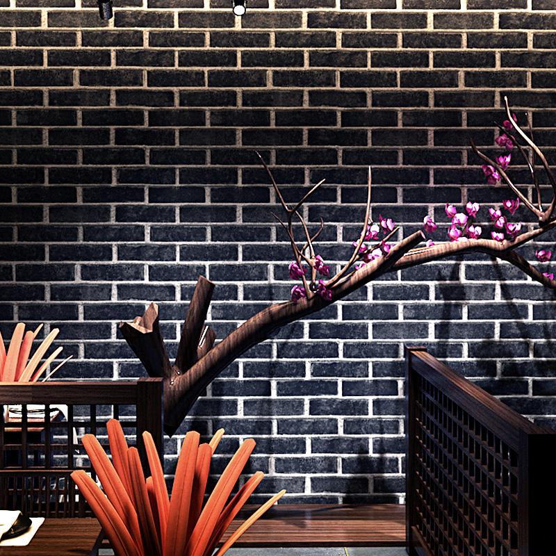 中式复古仿真砖纹红砖青砖灰砖仿古砖头墙纸砖块文化石背景墙壁纸