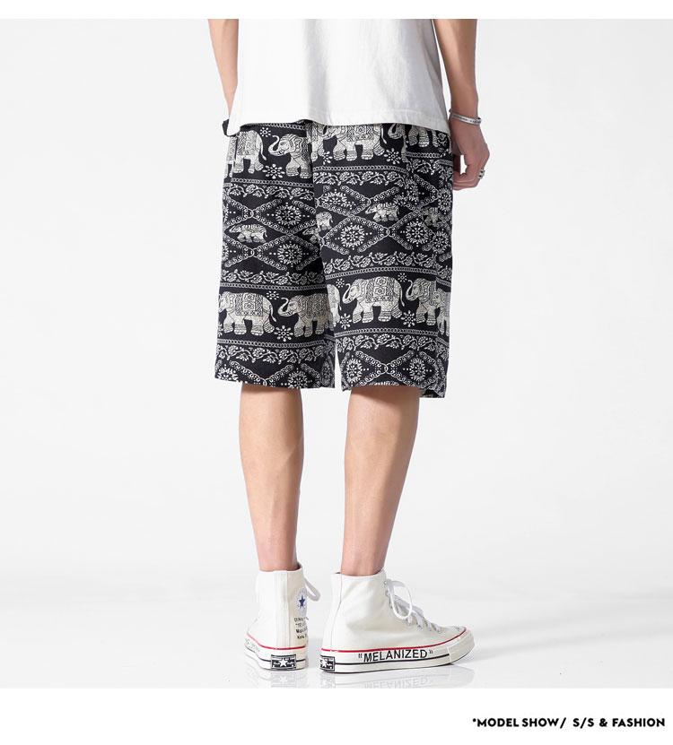 2019 夏季新款日系民族风沙滩裤大码印花短裤五分休闲裤K3512-P20