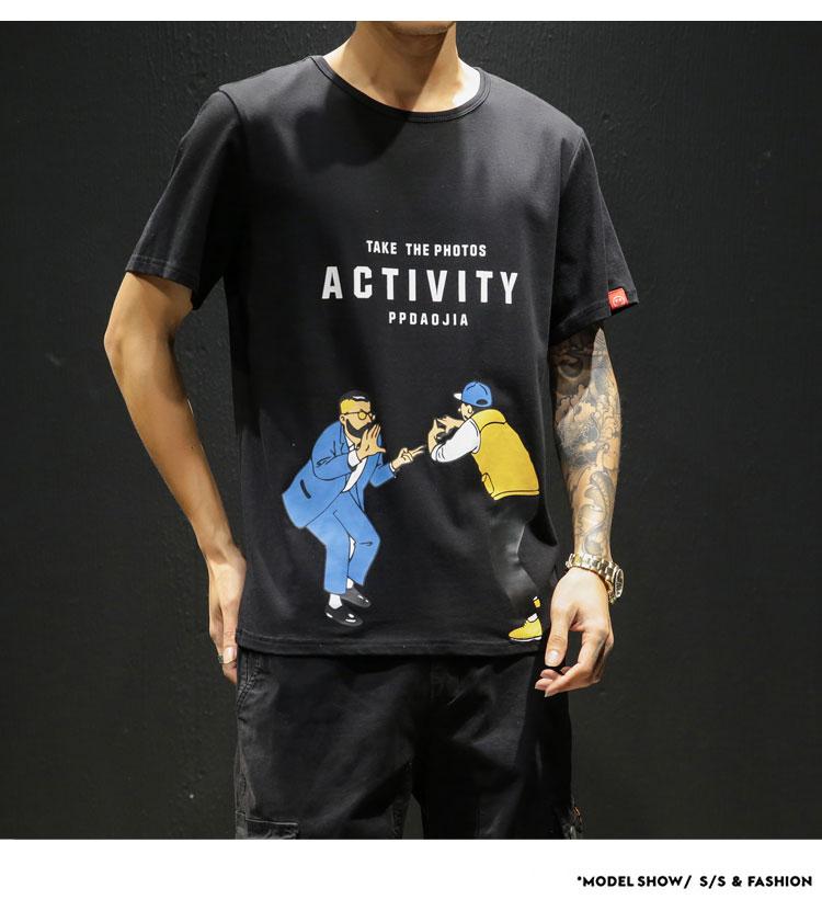 2019夏季新款网格风日系大码原创个性印花男短袖T恤M-5X T111-P30