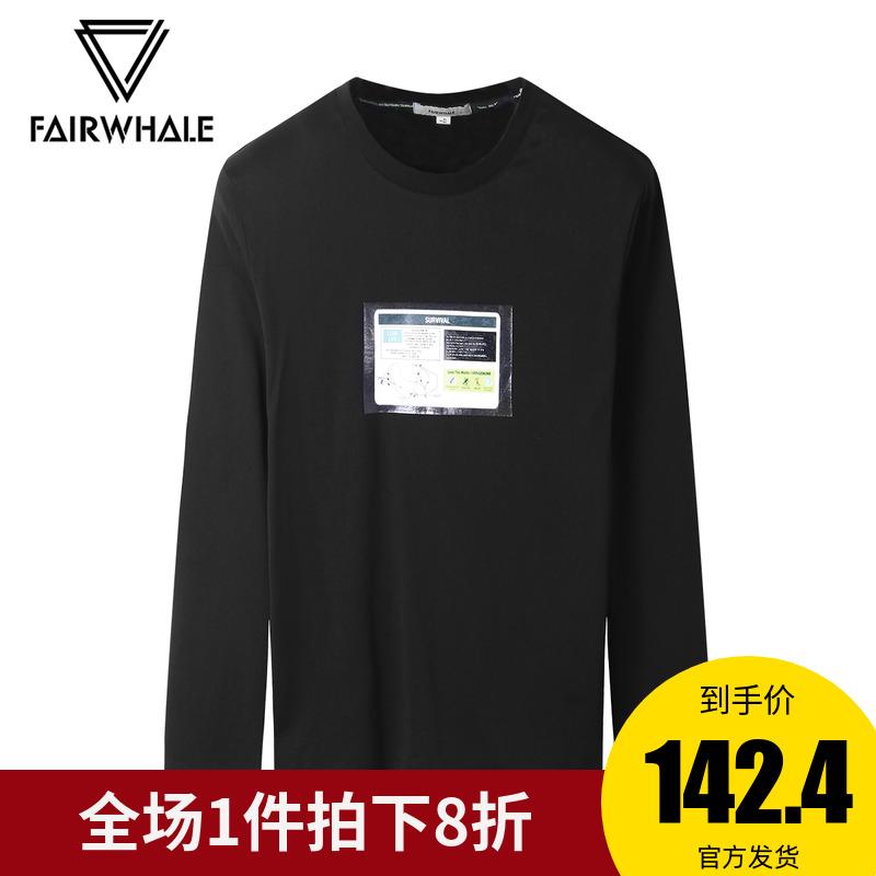 商场同款马克华菲长袖T恤潮男2018冬季新款时尚贴布印花秋衣