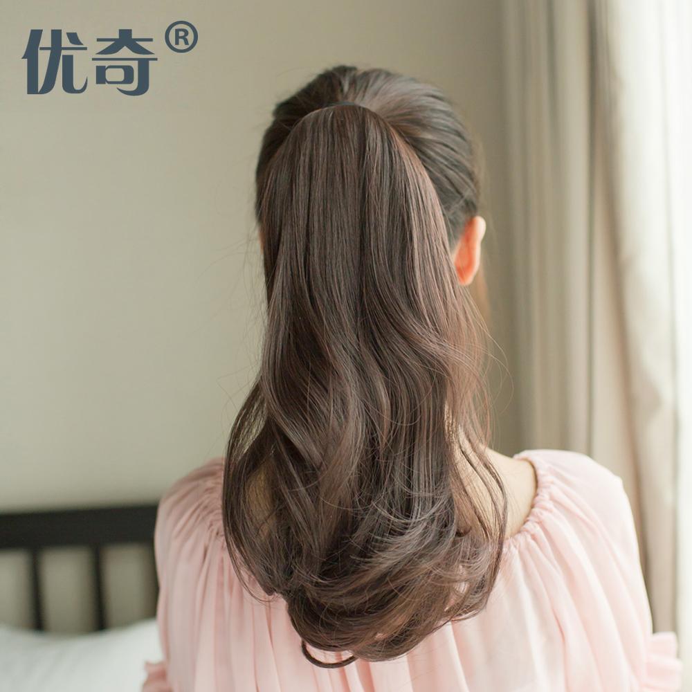 Конь лошади хвост Грушевая лошадь хвост Парик женщина в комплекте длинные вьющиеся волосы короткие волосы большой волны поддельные лошади хвост Расширение волос