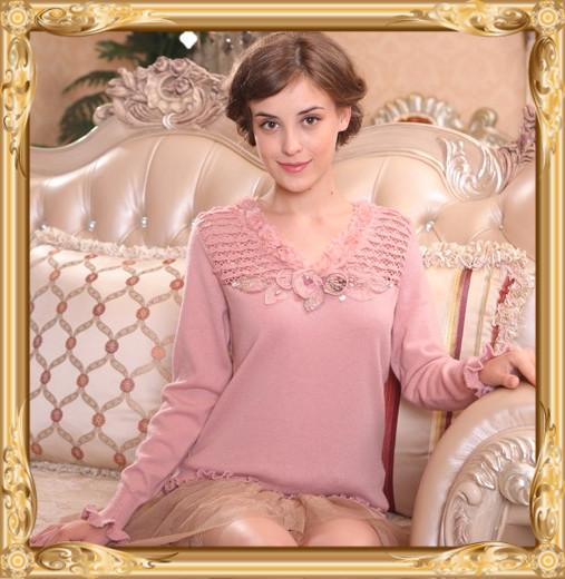 七彩玫瑰羊毛衫1206粉红玛丽荷叶边领钉珠立体装饰毛衣甜美针织衫
