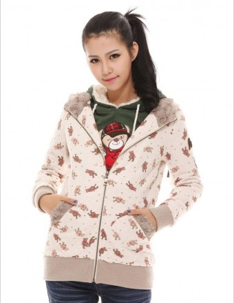 Etam Style/ES/艾格 2013冬季新款 小熊菱形格子绒内胆棉衣/外套