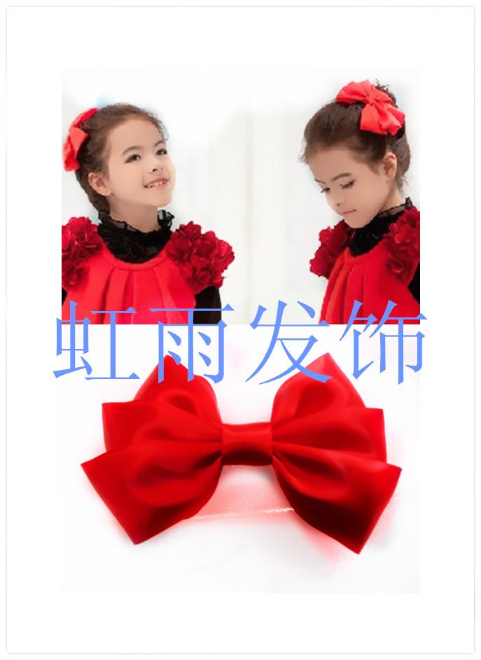 韩版幼儿童艺术照发饰拍头饰小女孩红色头花女童舞蹈表演盘发夹卡
