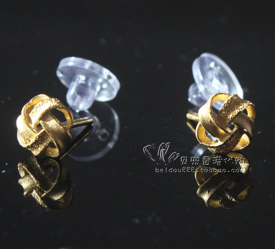 Hong Kong Zhou Sheng Counter Genuine 999 9 Gold Knot Cookie Earrings