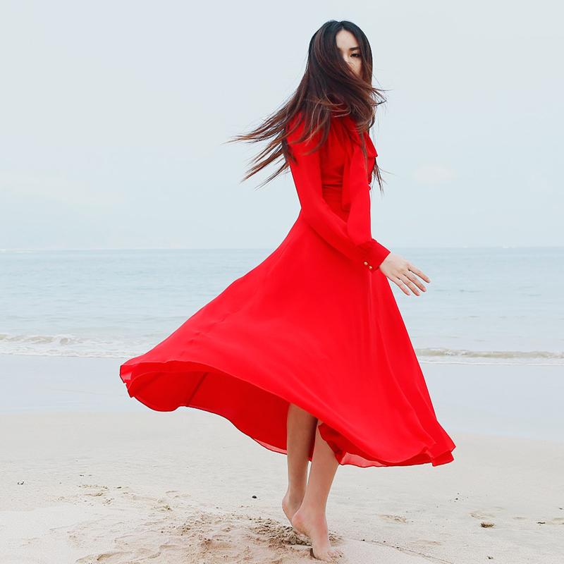 原创v高领春复古高领半立领长飘带大红色超大裙摆长裙连衣裙