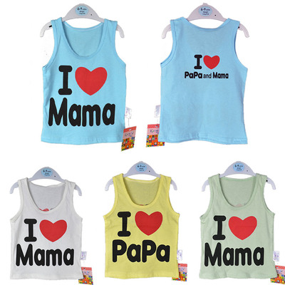 2017 new children's clothing summer 1-5 years old I love Mom and Dad cotton vest boy vest sleeveless T-shirt children's clothing