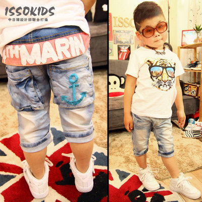 Sale ISSOKIDS children's clothing summer children's jeans trousers anchor embroidery pants five pants rubber band