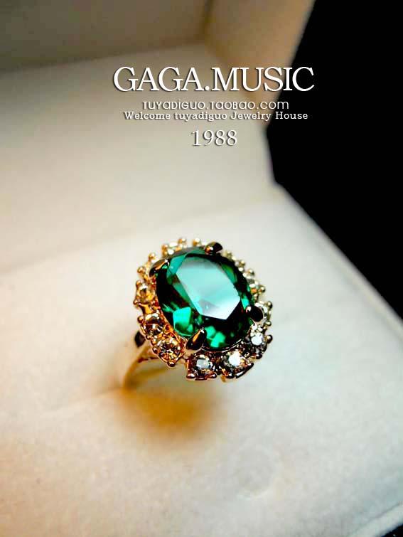 钻戒!绿色水晶/红宝石色女戒指冰点群舞碎钻祖母精致款