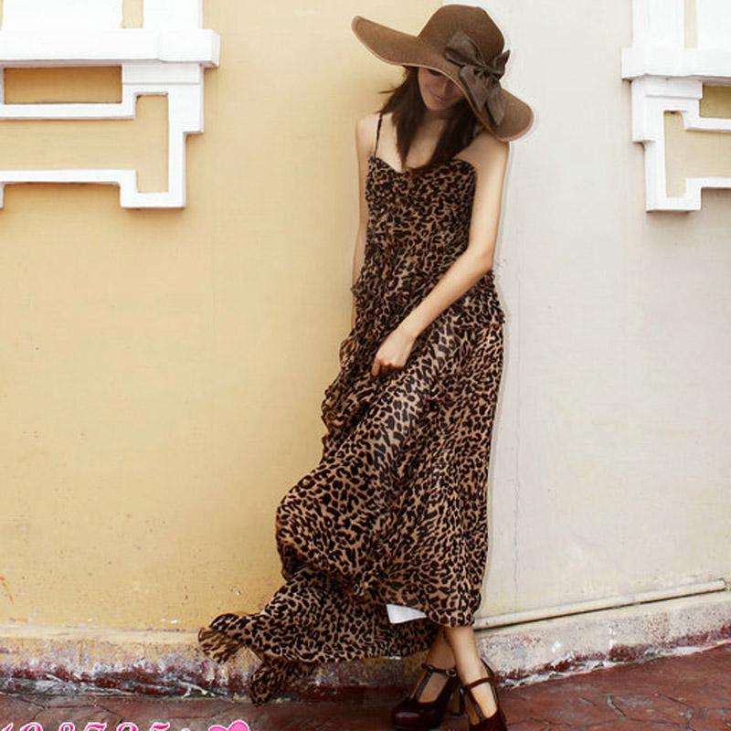 夏装新款波西米亚性感豹纹雪纺无袖开叉度假沙滩裙度假长裙连衣裙